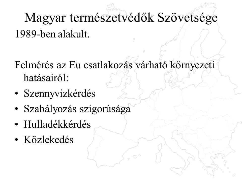 Magyar természetvédők Szövetsége 1989-ben alakult. Felmérés az Eu csatlakozás várható környezeti hatásairól: Szennyvízkérdés Szabályozás szigorúsága H