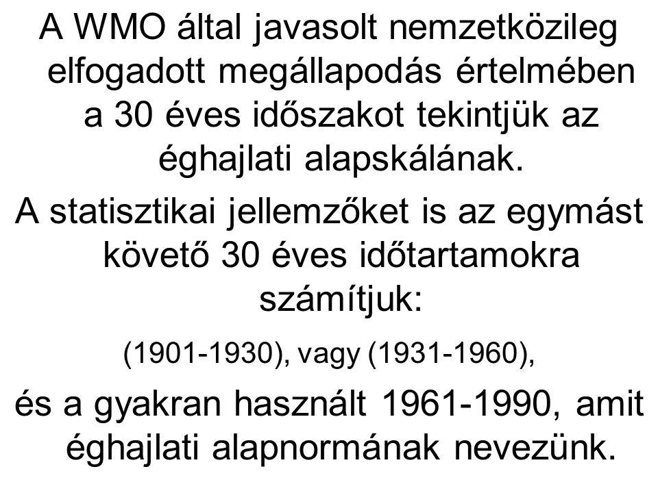 A WMO által javasolt nemzetközileg elfogadott megállapodás értelmében a 30 éves időszakot tekintjük az éghajlati alapskálának. A statisztikai jellemző