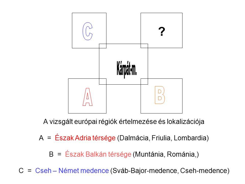 A vizsgált európai régiók értelmezése és lokalizációja A = Észak Adria térsége (Dalmácia, Friulia, Lombardia) B = Észak Balkán térsége (Muntánia, Romá