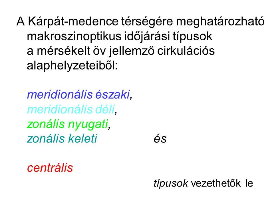 A Kárpát-medence térségére meghatározható makroszinoptikus időjárási típusok a mérsékelt öv jellemző cirkulációs alaphelyzeteiből: meridionális északi