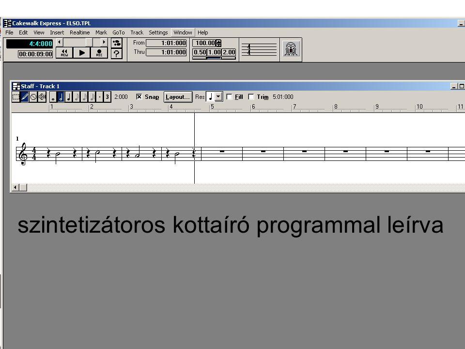 szintetizátoros kottaíró programmal leírva