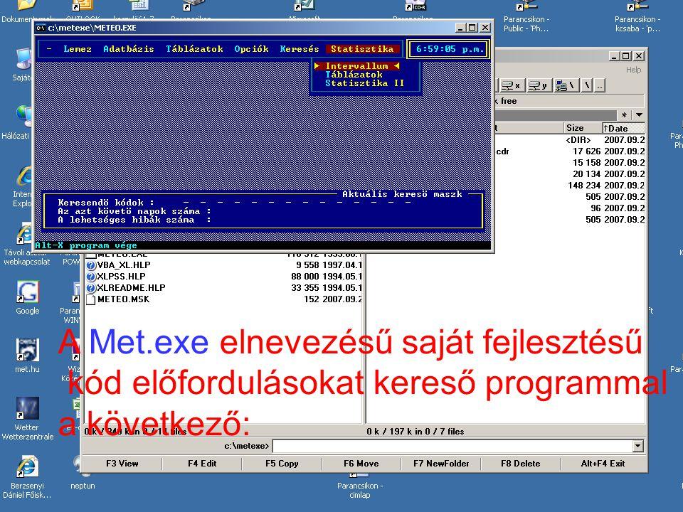 A Met.exe elnevezésű saját fejlesztésű kód előfordulásokat kereső programmal a következő: