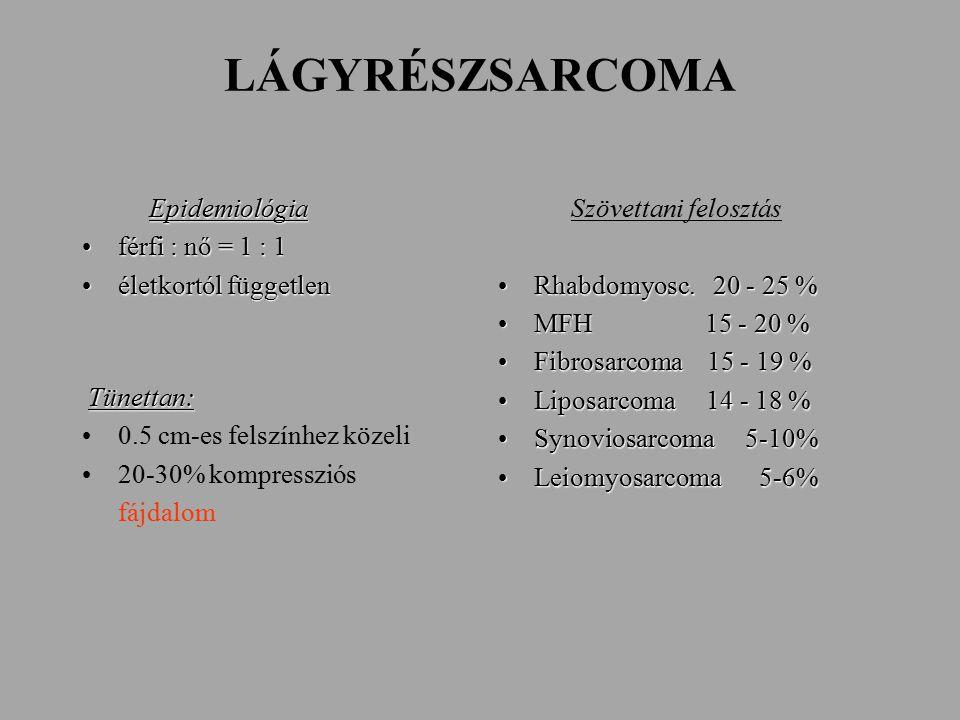 LÁGYRÉSZSARCOMA Epidemiológia Epidemiológia férfi : nő = 1 : 1férfi : nő = 1 : 1 életkortól függetlenéletkortól független Tünettan: 0.5 cm-es felszínhez közeli 20-30% kompressziós fájdalom Szövettani felosztás Rhabdomyosc.