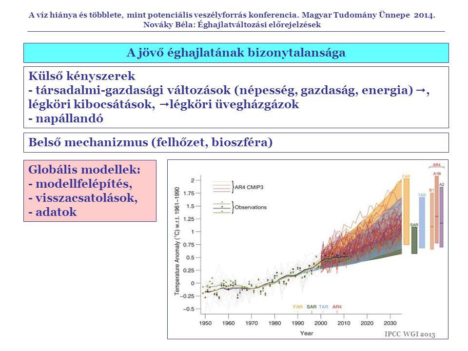 A jövő éghajlatának bizonytalansága Globális modellek: - modellfelépítés, - visszacsatolások, - adatok Külső kényszerek - társadalmi-gazdasági változá