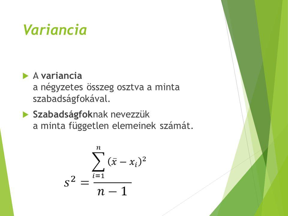 Variancia  A variancia a négyzetes összeg osztva a minta szabadságfokával.  Szabadságfoknak nevezzük a minta független elemeinek számát.