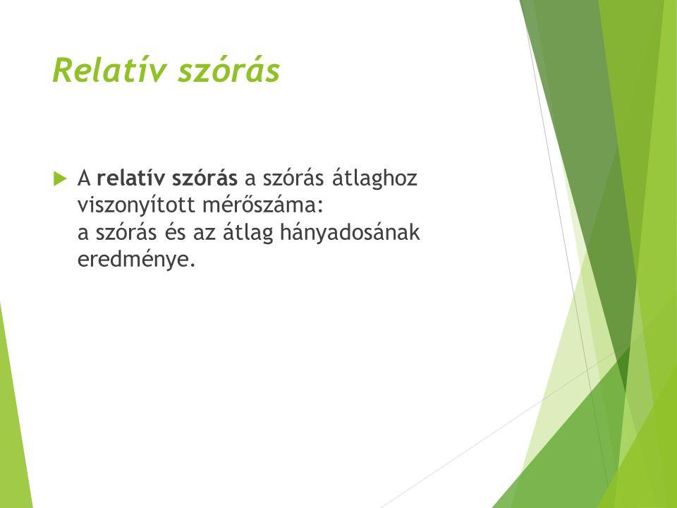 Relatív szórás  A relatív szórás a szórás átlaghoz viszonyított mérőszáma: a szórás és az átlag hányadosának eredménye.