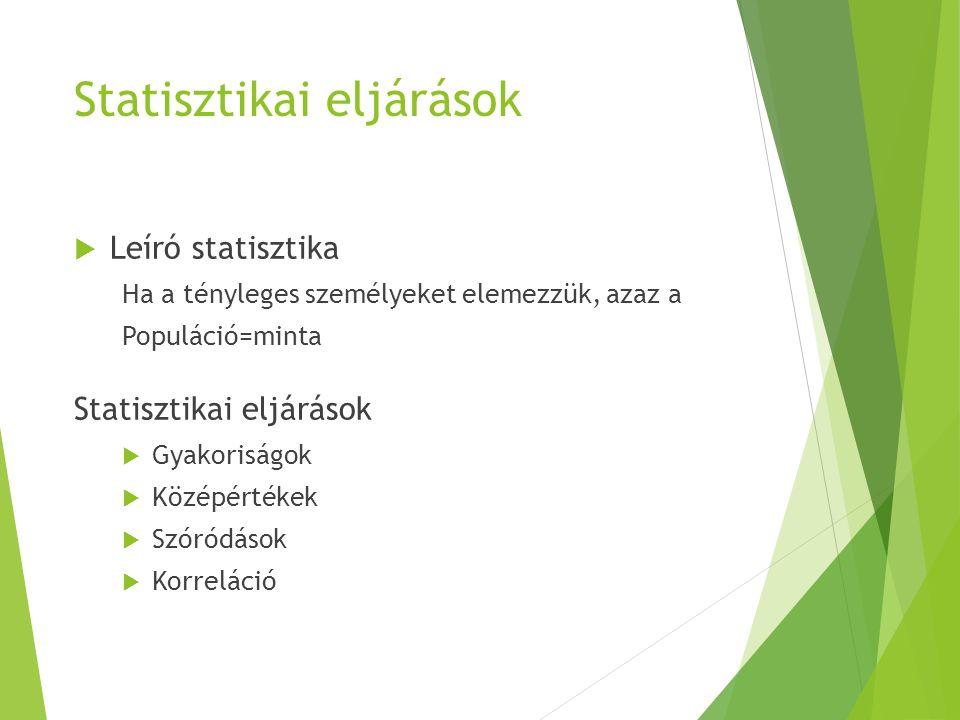 Statisztikai eljárások  Leíró statisztika Ha a tényleges személyeket elemezzük, azaz a Populáció=minta Statisztikai eljárások  Gyakoriságok  Középé