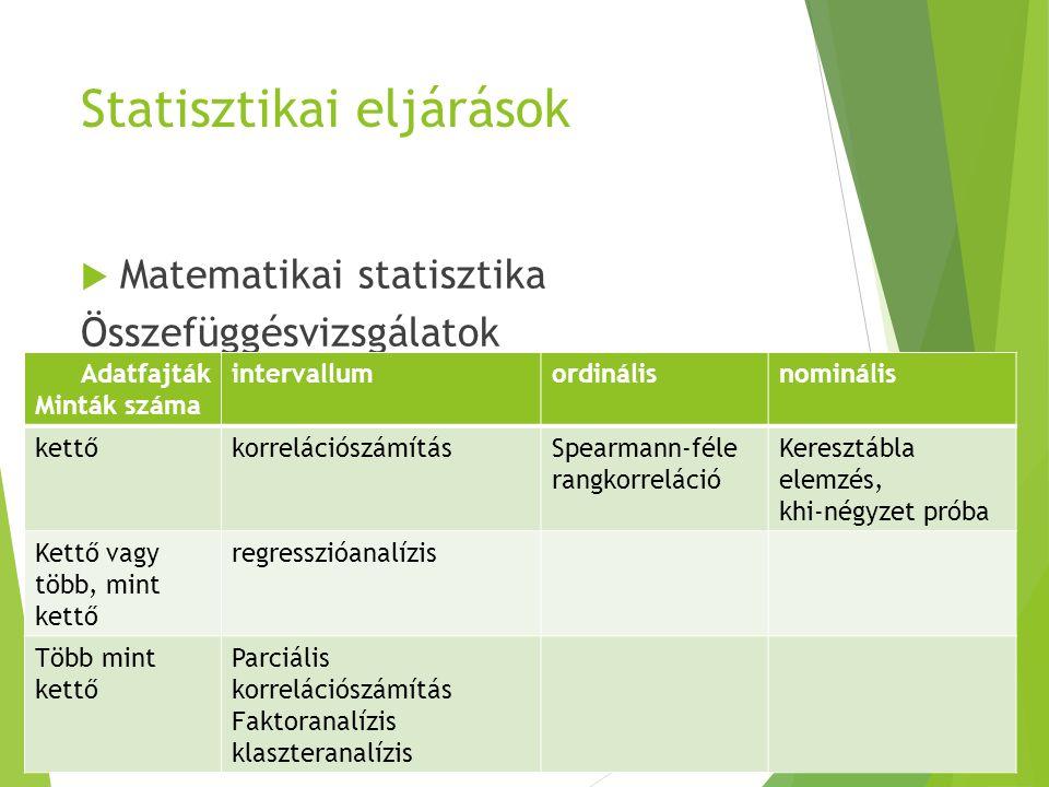 Statisztikai eljárások  Matematikai statisztika Összefüggésvizsgálatok Adatfajták Minták száma intervallumordinálisnominális kettőkorrelációszámításS