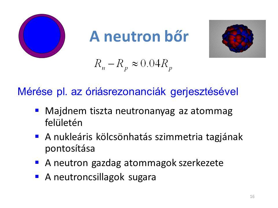 A neutron bőr  Majdnem tiszta neutronanyag az atommag felületén  A nukleáris kölcsönhatás szimmetria tagjának pontosítása  A neutron gazdag atommag