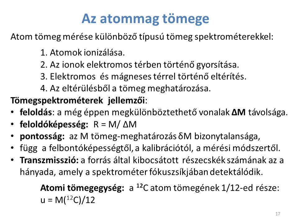 Az atommag tömege Atom tömeg mérése különböző típusú tömeg spektrométerekkel: 1. Atomok ionizálása. 2. Az ionok elektromos térben történő gyorsítása.