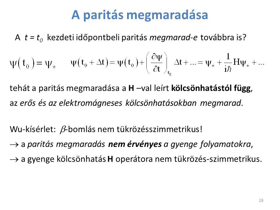 28 tehát a paritás megmaradása a H –val leírt kölcsönhatástól függ, az erős és az elektromágneses kölcsönhatásokban megmarad. Wu-kísérlet:  -bomlás n