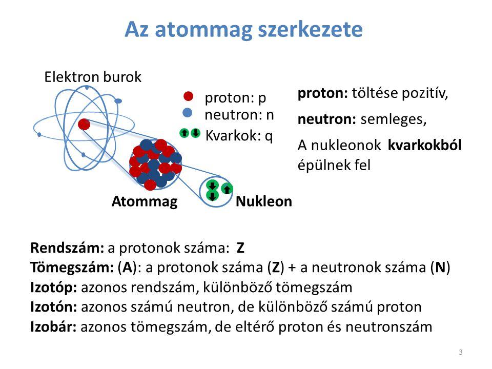 Az atommag szerkezete proton: p neutron: n Kvarkok: q proton: töltése pozitív, neutron: semleges, A nukleonok kvarkokból épülnek fel Rendszám: a proto