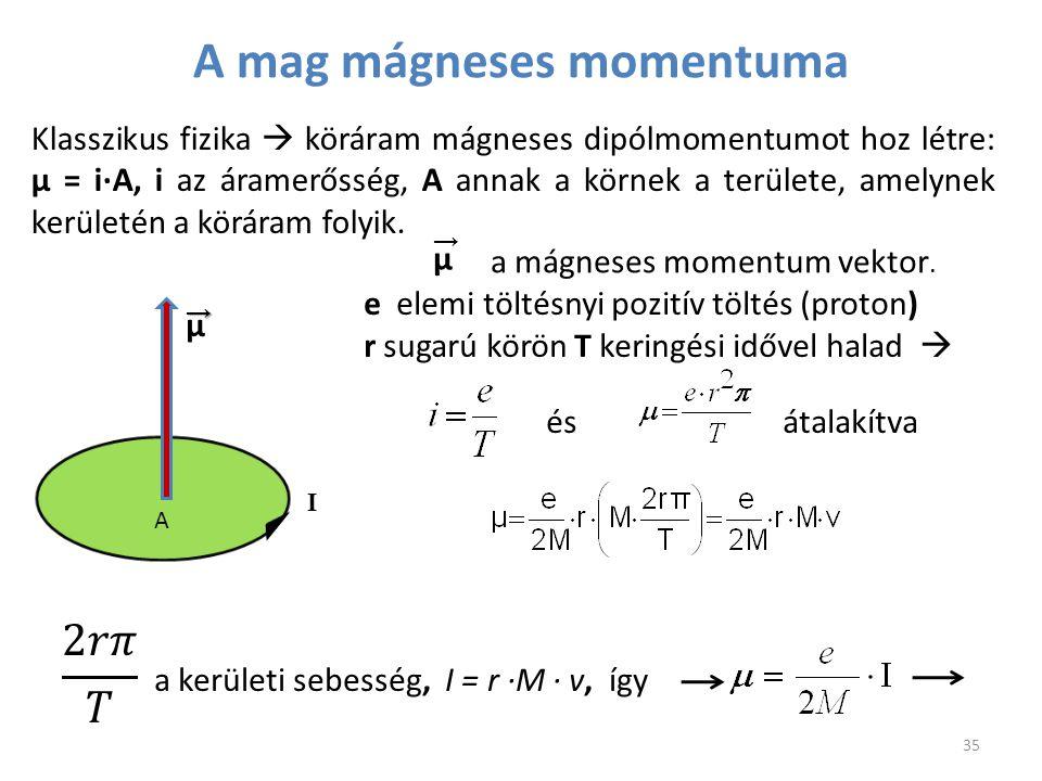 A I μ→ μ → a mágneses momentum vektor. e elemi töltésnyi pozitív töltés (proton) r sugarú körön T keringési idővel halad  és átalakítva a kerületi se