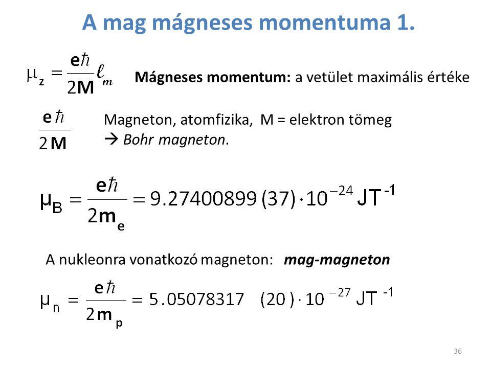 Mágneses momentum: a vetület maximális értéke Magneton, atomfizika, M = elektron tömeg  Bohr magneton. A nukleonra vonatkozó magneton: mag-magneton 3