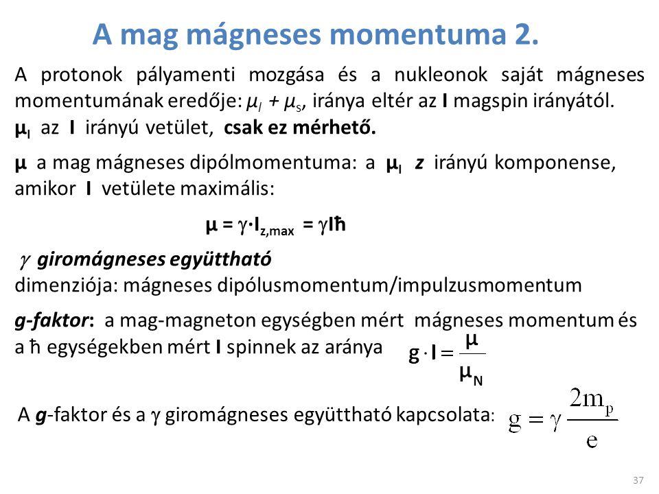 37 A protonok pályamenti mozgása és a nukleonok saját mágneses momentumának eredője: μ l + μ s, iránya eltér az I magspin irányától. μ I az I irányú v