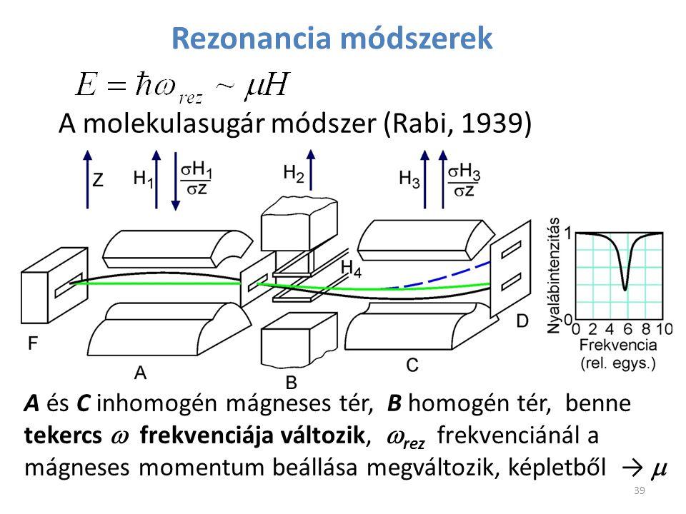 Rezonancia módszerek A molekulasugár módszer (Rabi, 1939) 39 A és C inhomogén mágneses tér, B homogén tér, benne tekercs  frekvenciája változik,  re