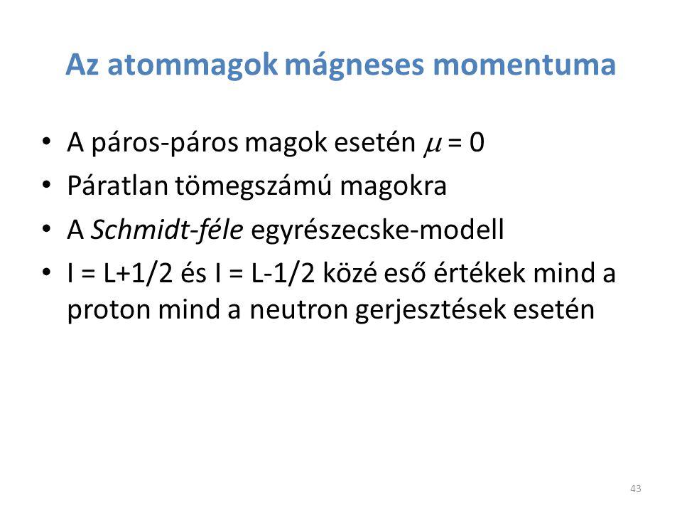 Az atommagok mágneses momentuma A páros-páros magok esetén  = 0 Páratlan tömegszámú magokra A Schmidt-féle egyrészecske-modell I = L+1/2 és I = L-1/2
