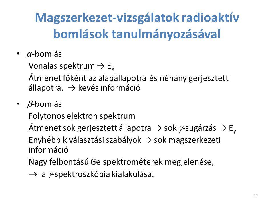 α-bomlás Vonalas spektrum → E x Átmenet főként az alapállapotra és néhány gerjesztett állapotra. → kevés információ  -bomlás Folytonos elektron spekt