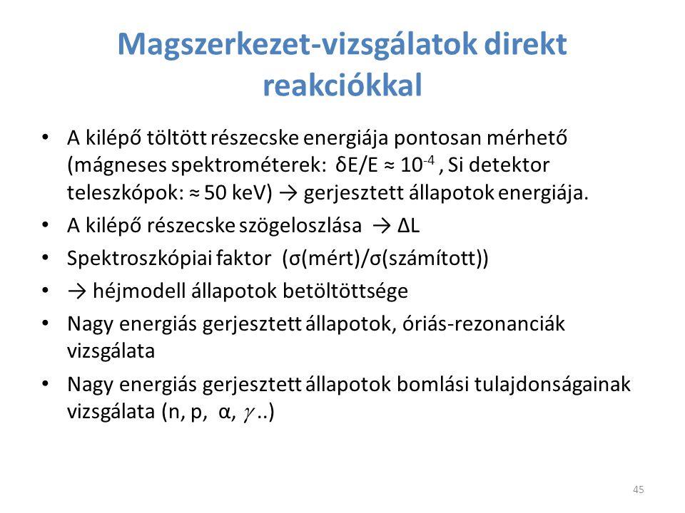 Magszerkezet-vizsgálatok direkt reakciókkal A kilépő töltött részecske energiája pontosan mérhető (mágneses spektrométerek: δE/E ≈ 10 -4, Si detektor