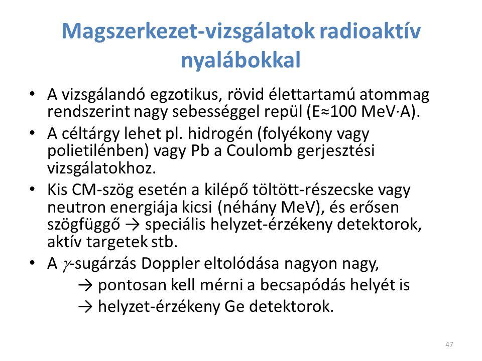 A vizsgálandó egzotikus, rövid élettartamú atommag rendszerint nagy sebességgel repül (E≈100 MeV∙A). A céltárgy lehet pl. hidrogén (folyékony vagy pol