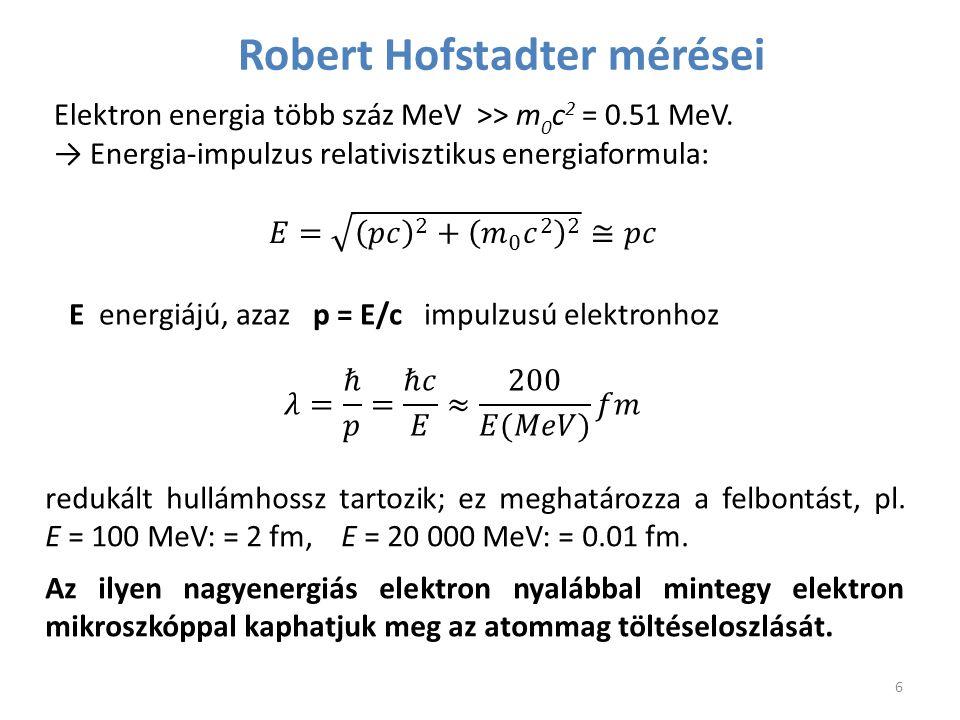 Robert Hofstadter mérései Elektron energia több száz MeV >> m 0 c 2 = 0.51 MeV. → Energia-impulzus relativisztikus energiaformula: redukált hullámhoss