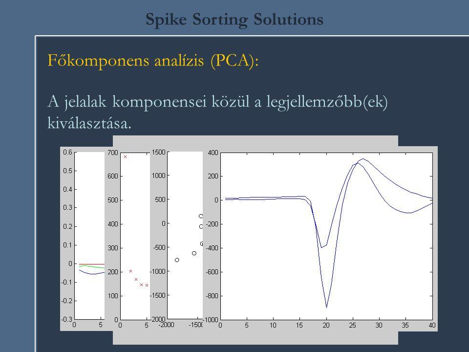 Spike Sorting Solutions Főkomponens analízis (PCA): A jelalak komponensei közül a legjellemzőbb(ek) kiválasztása.