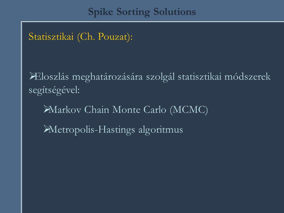 Spike Sorting Solutions Statisztikai (Ch. Pouzat):  Eloszlás meghatározására szolgál statisztikai módszerek segítségével:  Markov Chain Monte Carlo