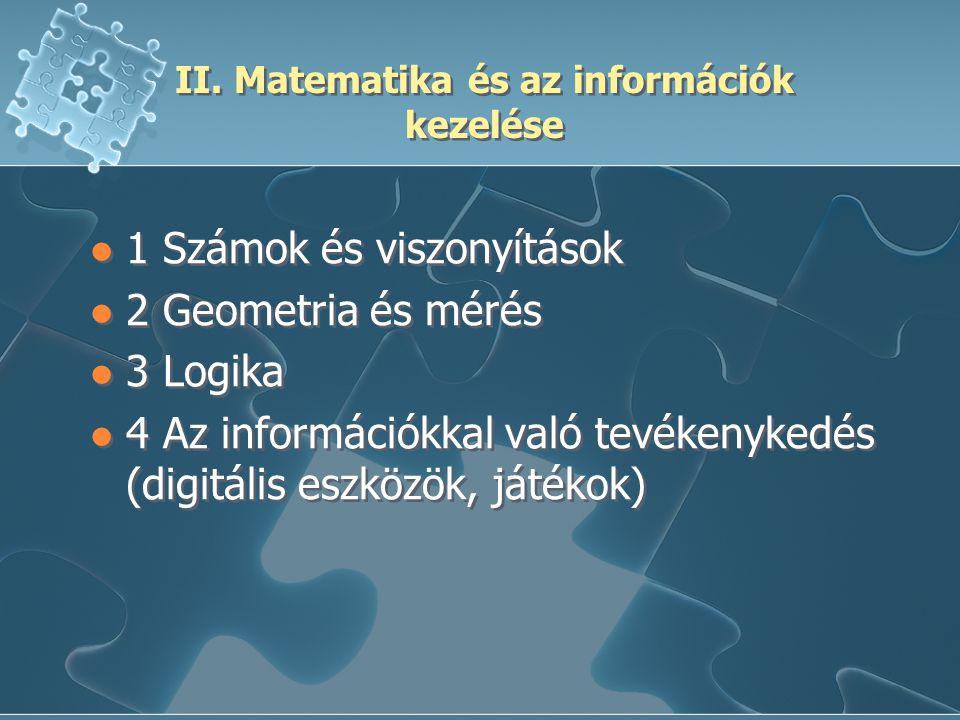 II. Matematika és az információk kezelése 1 Számok és viszonyítások 2 Geometria és mérés 3 Logika 4 Az információkkal való tevékenykedés (digitális es