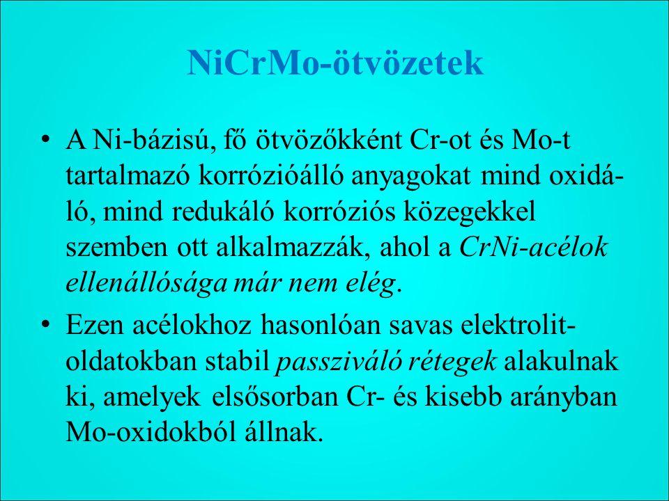 NiCrMo-ötvözetek A Ni-bázisú, fő ötvözőkként Cr-ot és Mo-t tartalmazó korrózióálló anyagokat mind oxidá- ló, mind redukáló korróziós közegekkel szemben ott alkalmazzák, ahol a CrNi-acélok ellenállósága már nem elég.
