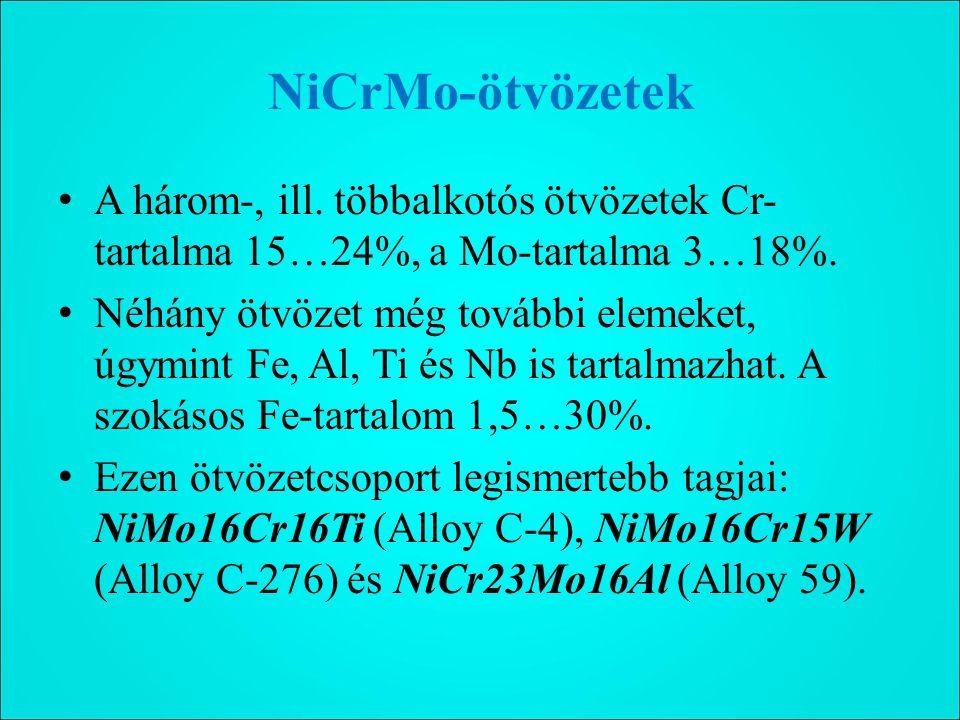 NiCrMo-ötvözetek A három-, ill.többalkotós ötvözetek Cr- tartalma 15…24%, a Mo-tartalma 3…18%.