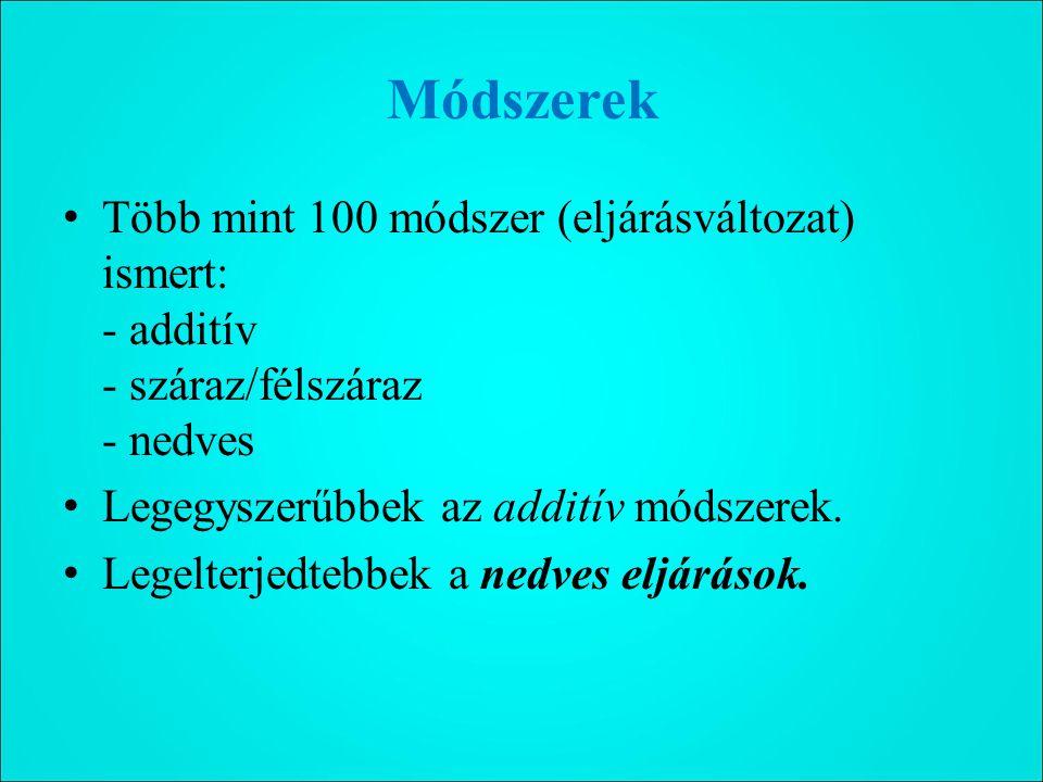 Módszerek Több mint 100 módszer (eljárásváltozat) ismert: - additív - száraz/félszáraz - nedves Legegyszerűbbek az additív módszerek.