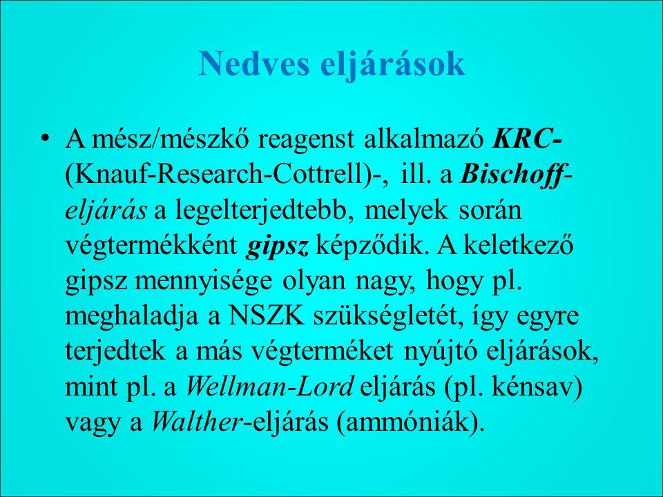 Nedves eljárások A mész/mészkő reagenst alkalmazó KRC- (Knauf-Research-Cottrell)-, ill.