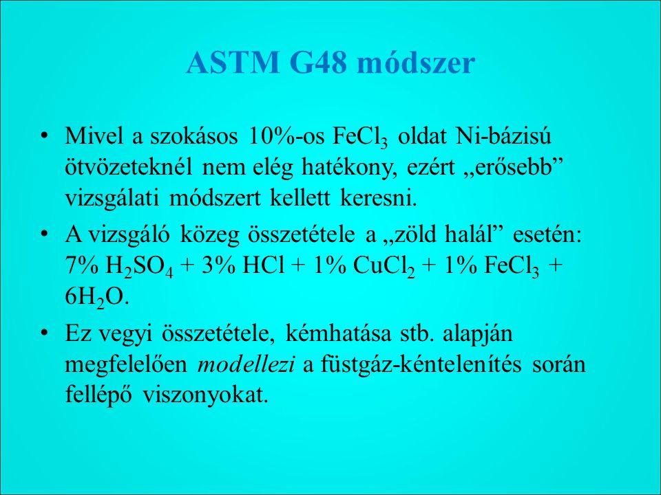 """ASTM G48 módszer Mivel a szokásos 10%-os FeCl 3 oldat Ni-bázisú ötvözeteknél nem elég hatékony, ezért """"erősebb vizsgálati módszert kellett keresni."""