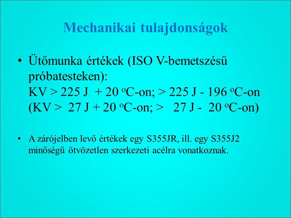 Mechanikai tulajdonságok Ütőmunka értékek (ISO V-bemetszésű próbatesteken): KV > 225 J + 20 o C-on; > 225 J - 196 o C-on (KV > 27 J + 20 o C-on; > 27 J - 20 o C-on) A zárójelben levő értékek egy S355JR, ill.