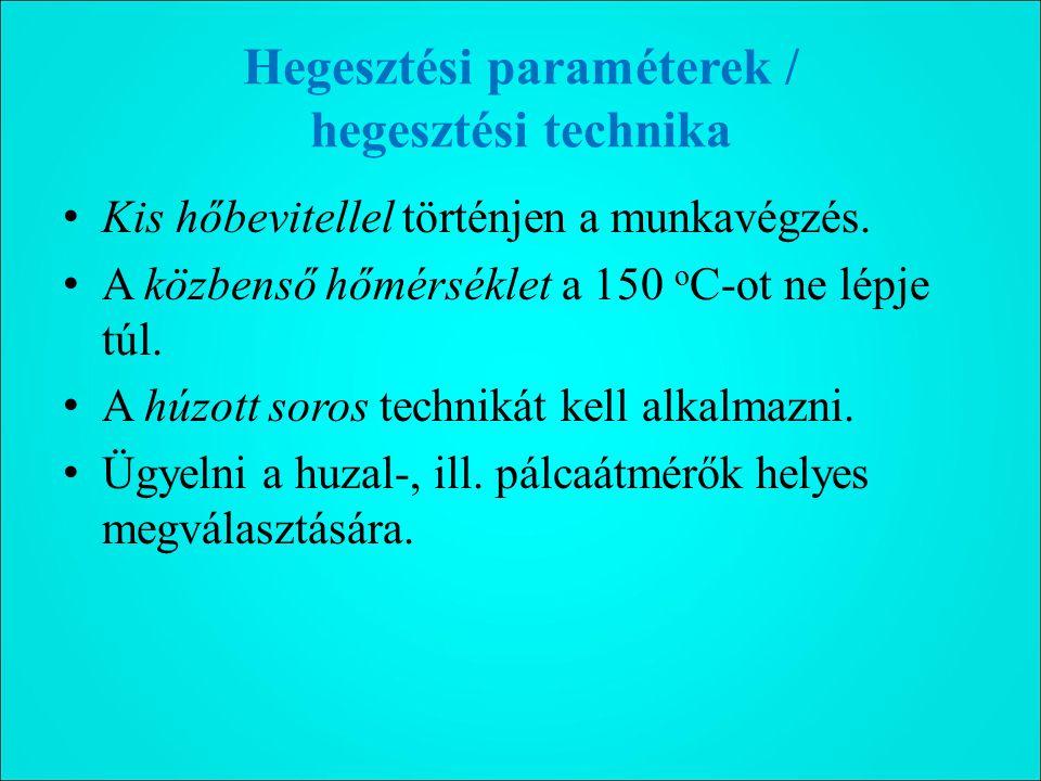 Hegesztési paraméterek / hegesztési technika Kis hőbevitellel történjen a munkavégzés.