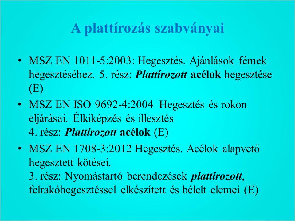 A plattírozás szabványai MSZ EN 1011-5:2003: Hegesztés.