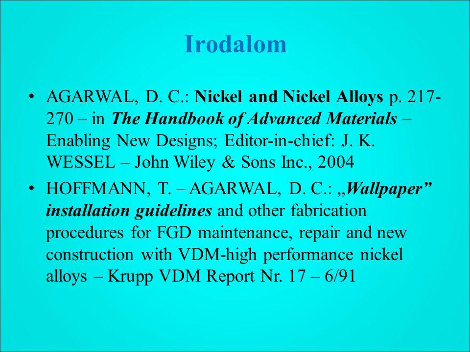Irodalom AGARWAL, D.C.: Nickel and Nickel Alloys p.