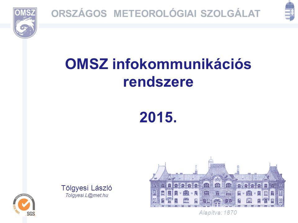 Alapítva: 1870 ORSZÁGOS METEOROLÓGIAI SZOLGÁLAT OMSZ infokommunikációs rendszere 2015.