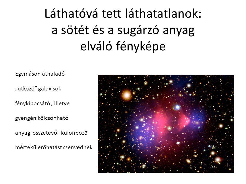 """Láthatóvá tett láthatatlanok: a sötét és a sugárzó anyag elváló fényképe Egymáson áthaladó """"ütköző galaxisok fénykibocsátó, illetve gyengén kölcsönható anyagi összetevői különböző mértékű erőhatást szenvednek"""