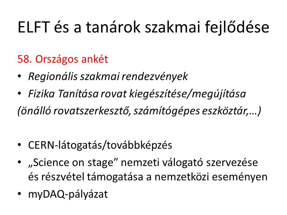 ELFT és a tanárok szakmai fejlődése 58.