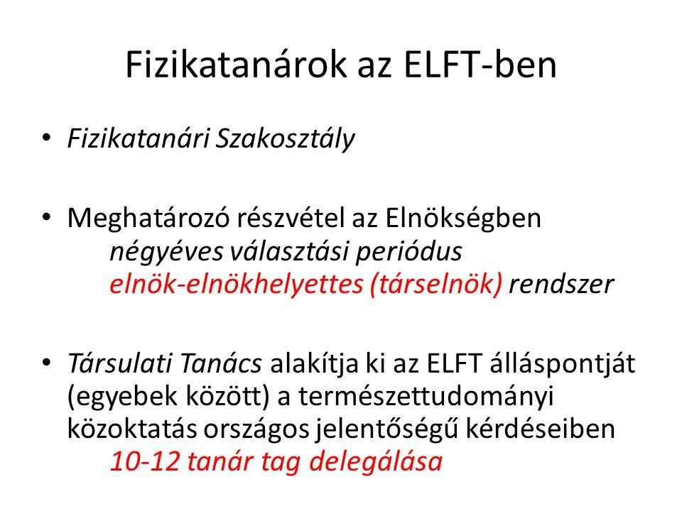 Fizikatanárok az ELFT-ben Fizikatanári Szakosztály Meghatározó részvétel az Elnökségben négyéves választási periódus elnök-elnökhelyettes (társelnök) rendszer Társulati Tanács alakítja ki az ELFT álláspontját (egyebek között) a természettudományi közoktatás országos jelentőségű kérdéseiben 10-12 tanár tag delegálása