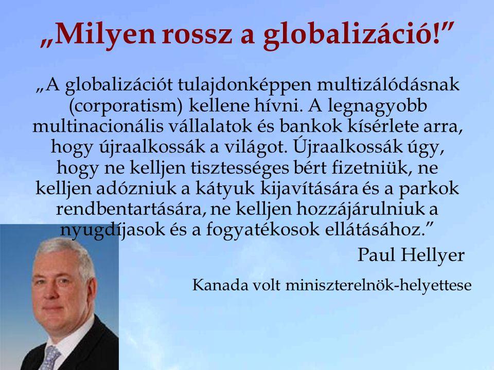 """""""A globalizációt tulajdonképpen multizálódásnak (corporatism) kellene hívni. A legnagyobb multinacionális vállalatok és bankok kísérlete arra, hogy új"""
