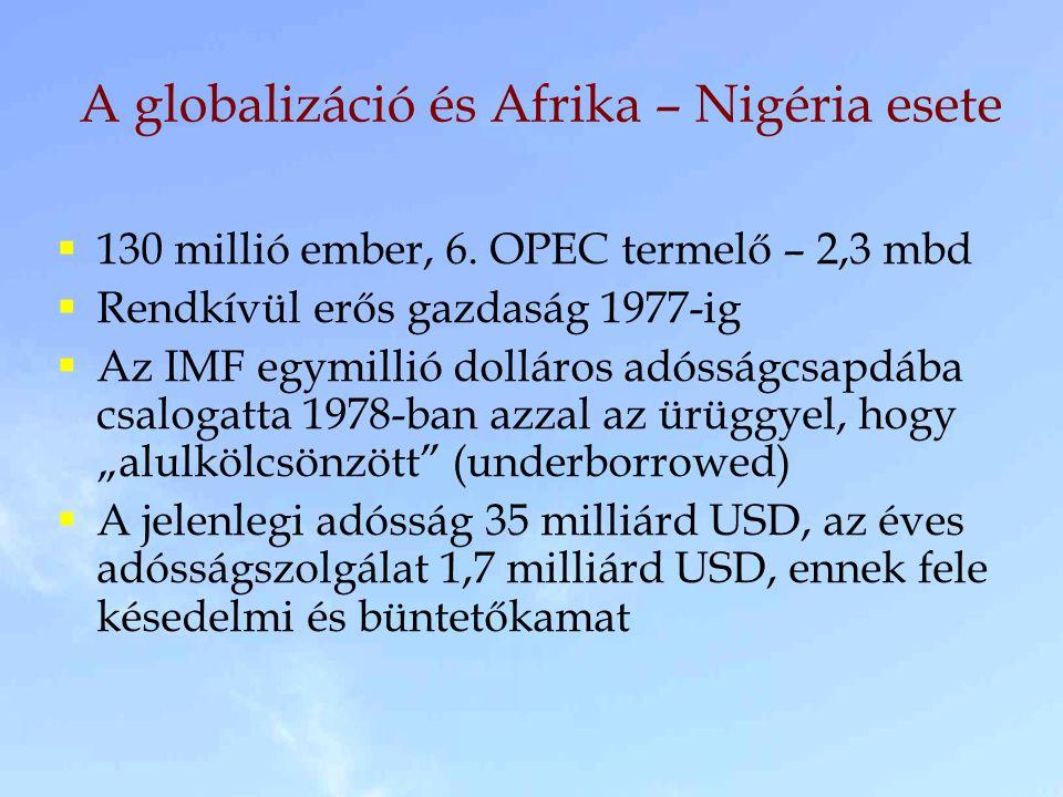 A globalizáció és Afrika – Nigéria esete  130 millió ember, 6. OPEC termelő – 2,3 mbd  Rendkívül erős gazdaság 1977-ig  Az IMF egymillió dolláros a
