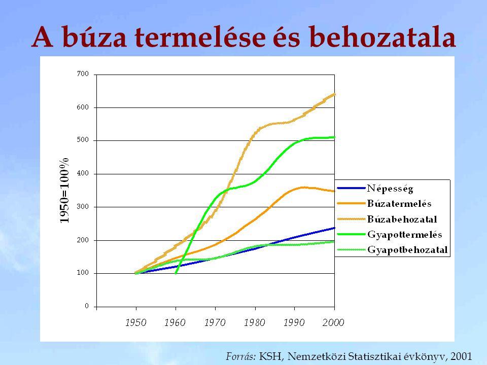 A búza termelése és behozatala Forrás: KSH, Nemzetközi Statisztikai évkönyv, 2001
