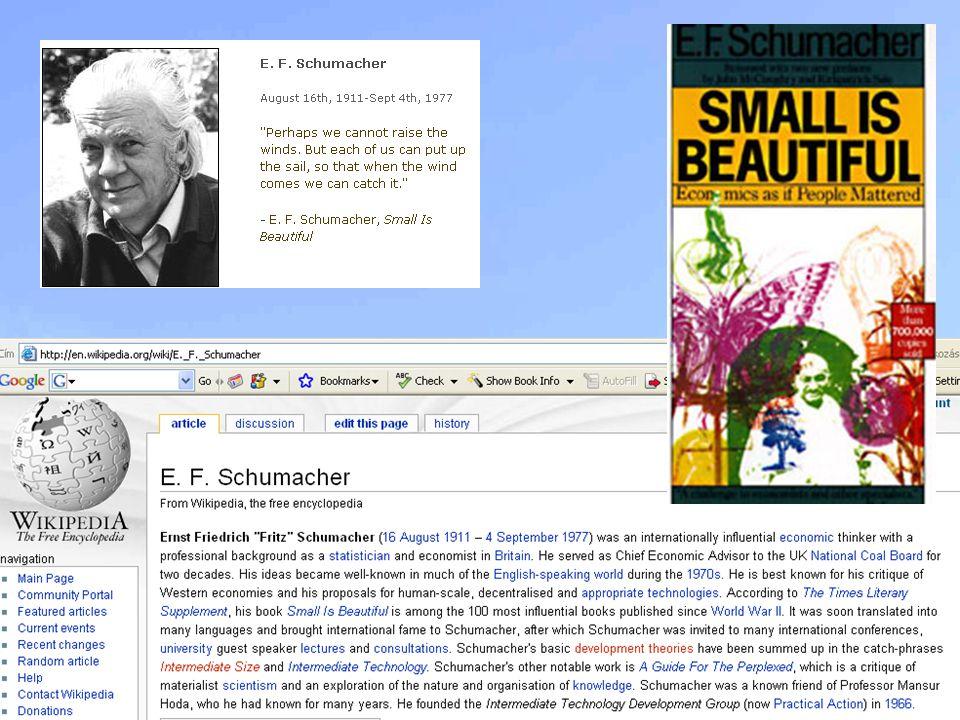 Forrás: Schumacher, E. [1991]: A kicsi szép, KJK, Budapest