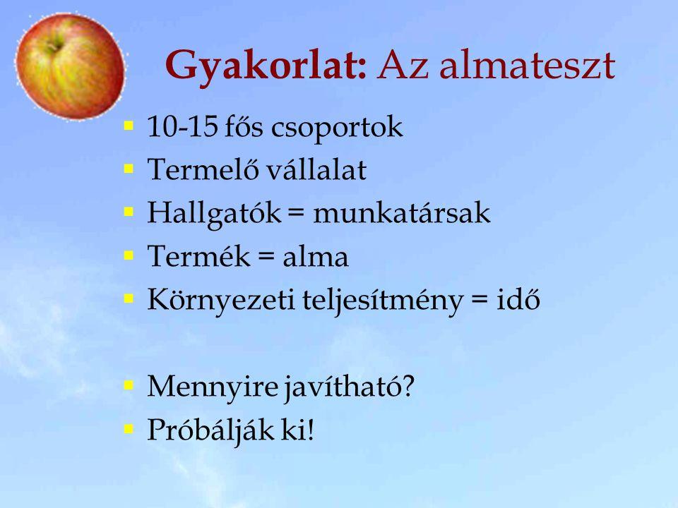 Gyakorlat: Az almateszt  10-15 fős csoportok  Termelő vállalat  Hallgatók = munkatársak  Termék = alma  Környezeti teljesítmény = idő  Mennyire