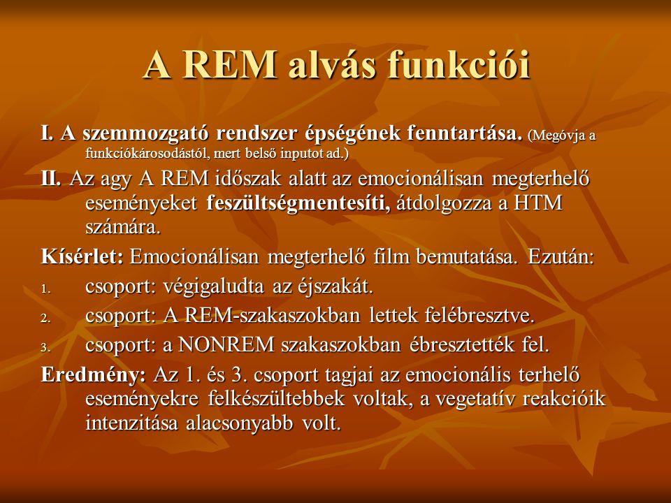 A REM alvás funkciói I. A szemmozgató rendszer épségének fenntartása. (Megóvja a funkciókárosodástól, mert belső inputot ad.) II. Az agy A REM időszak