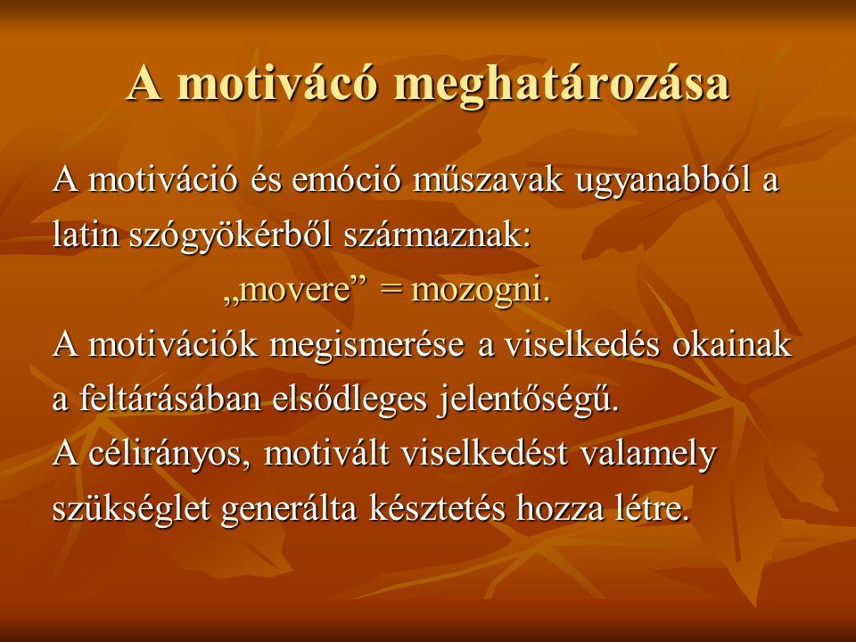 """A motivácó meghatározása A motiváció és emóció műszavak ugyanabból a latin szógyökérből származnak: """"movere"""" = mozogni. """"movere"""" = mozogni. A motiváci"""