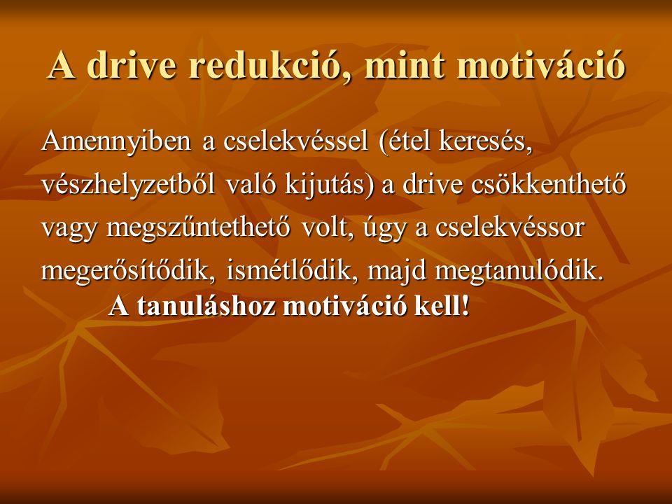 A drive redukció, mint motiváció Amennyiben a cselekvéssel (étel keresés, vészhelyzetből való kijutás) a drive csökkenthető vagy megszűntethető volt,