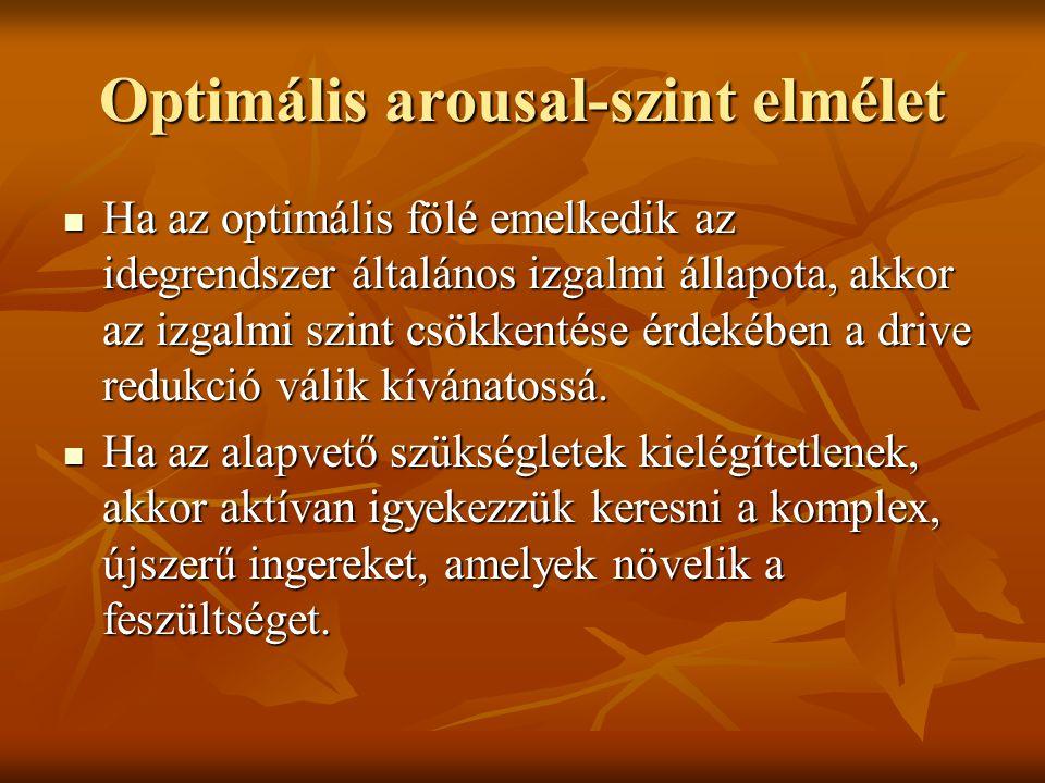 Optimális arousal-szint elmélet Ha az optimális fölé emelkedik az idegrendszer általános izgalmi állapota, akkor az izgalmi szint csökkentése érdekébe